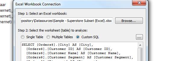 Custom SQL in a Excel Data Source?