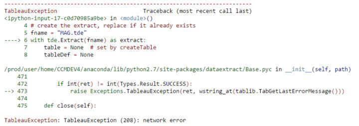 Tableau DataExtract API : Network Error
