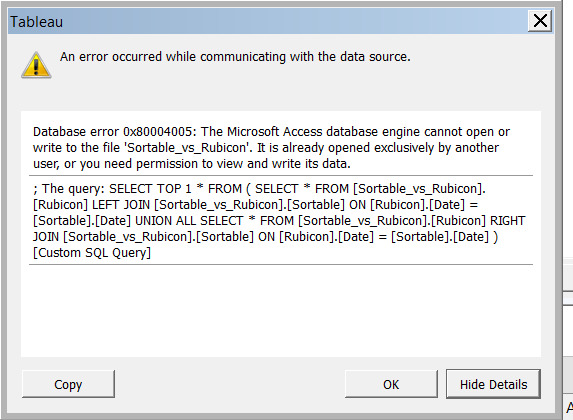 Tableau an error occurred validating the custom sql connection another name for speed dating